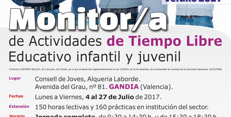 Cartel GANDIA curso MONITOR Intensivo · ACCENT
